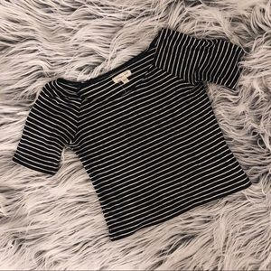 silence + noise cropped stripped shirt